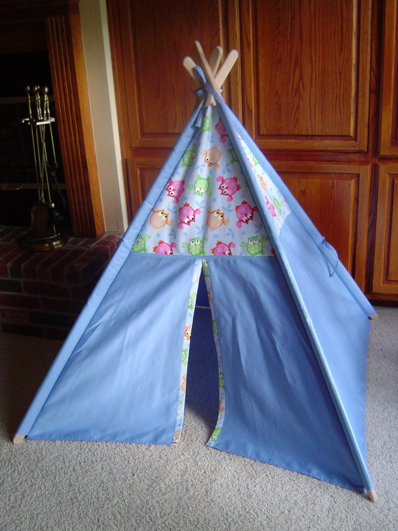 Child's Play Teepee - Wooden Poles -Colorful Owls on Blue (free shipping)