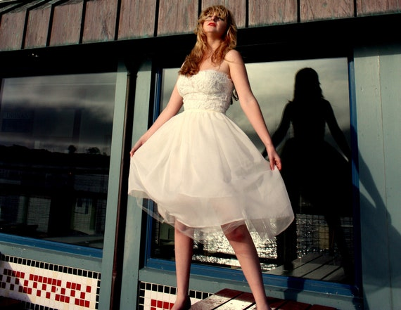 Silk Chiffon and Lace Short Strapless Wedding Dress with Detachable Second Skirt