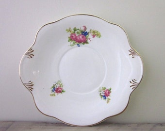 English China Cake Plate with Flowers and Gold Trim