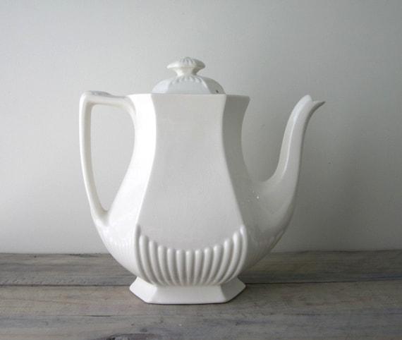 White Ironstone Teapot Coffee Pot