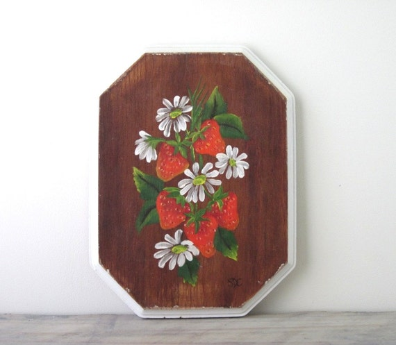 Hand Painted Strawberry Wood Plaque Picture