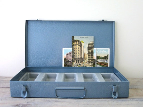 Blue Metal Slide Box