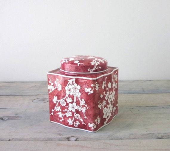 Brown and White Floral Tin Box from England by Daher