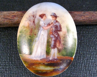 Vintage Hand Painted French Porcelaine Cabochon/Cameo of Maiden and Soldier in Napoleanic Garb, Ready to Set