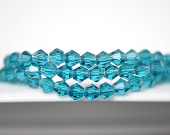 BiCone Beads 4mm Faceted Glass  Beads Blue -(LZ04-12)/ 110pcs