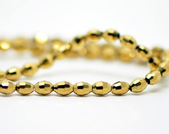 70pcs Gold Faceted Rice Glass Beads 4x6mm- (MZ04-16)