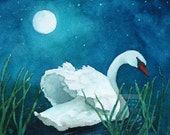 moonlight swan watercolor print  5 x 7