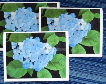 blue hydrangea blank cards watercolor set of three