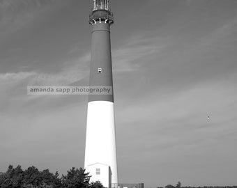 "Barnegat Light House ""Old Barney""  black and white photograph"
