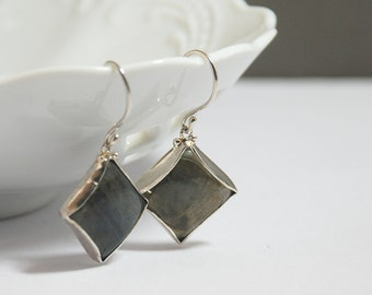 Labrodorite Gemstone Sterling Silver Dangling Earrings