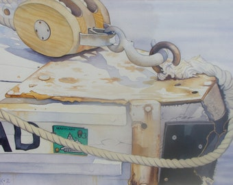 Rusty Bow - Push Boat (St. Michael's, Maryland)  Original Watercolor (Framed)
