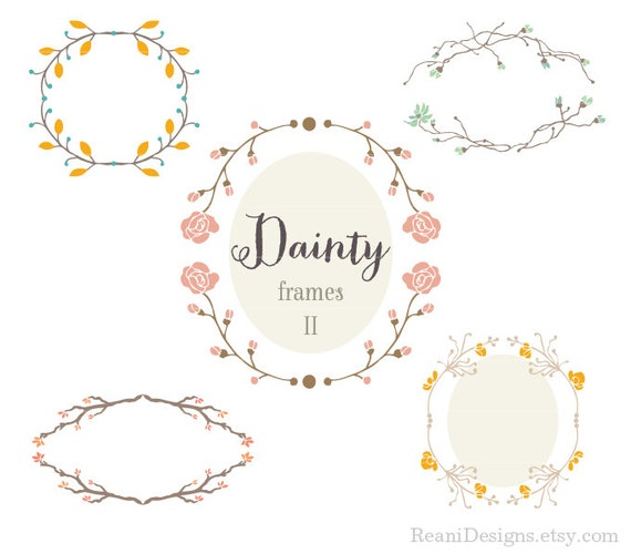 Dainty and Delicate Floral Frames Design Clipart for personal