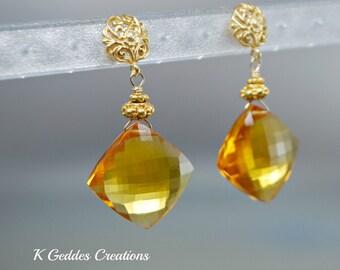 Gold Madeira Quartz Earrings, Gold Quartz, Honey Gold Gemstone Dangle Earrings