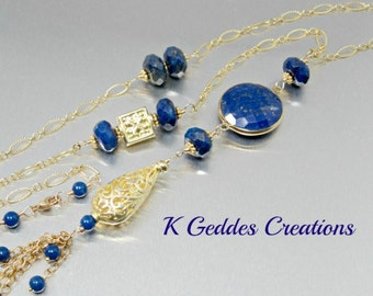Long Lapis Lazuli Necklace Layering Necklace Cobalt Blue Gemstone Connector Gold Filled Chain Lapis Lazuli Gold Necklace