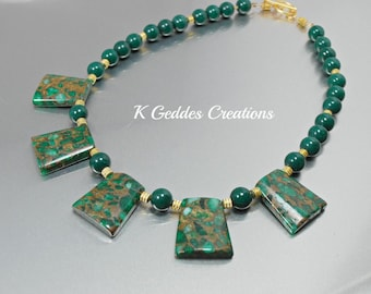SALE Emerald Green Statement Necklace, Mosaic Quartz Gold Bib Necklace, Green Jade, Emerald Green Gemstone Statement Necklace Gold Beaded