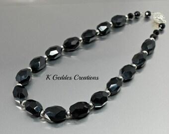 Black Sardonyx Necklace, Sterling Silver, Black Statement Necklace, Black Gemstone Nugget, Rhinestone Magnetic Clasp
