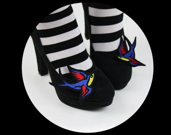 Tattoo Style Swallow Shoe Clips, Comic Blasts