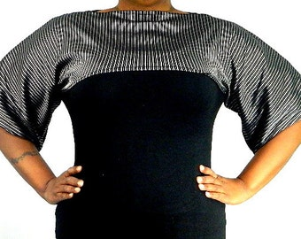 Black and Silver Shrug Bolero Coverup Size 8 - 20