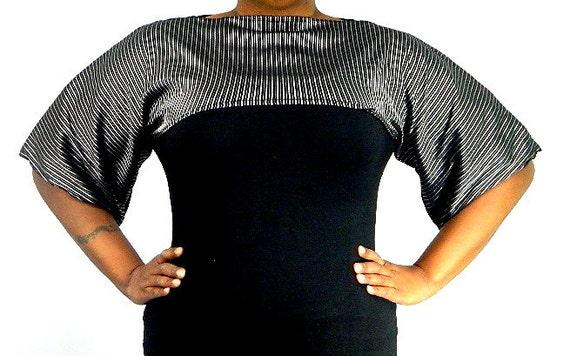 Black and Silver Shrug Bolero Coverup Size 8 - 20