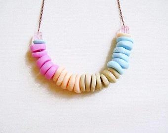 SALE - Pastel Polymer Clay Necklace, Pastel Color Block Summer Necklace