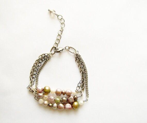 Freshwater Pearl Bracelet,  Triple Strand  Pearl Bracelet, Adjustable Chain Pearl Handmade Bracelet