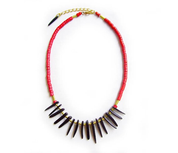 Mamba Necklace - Black and Red Tribal Inspired Handmade Necklace