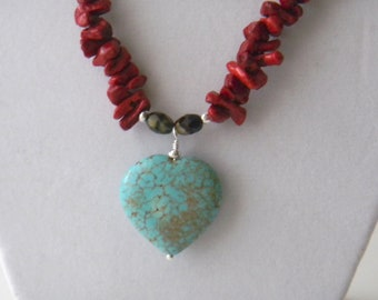 Turquoise and Coral beaded necklace Red Necklace Gemstone Pendant necklace Multicolor Necklace Southwest