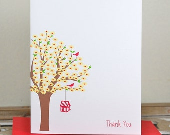 Bird Stationery, Bird House Cards, Birds, Cardinal Stationery Cards,  Thank You Cards, Personalized Stationery,  Bird, Birdhouse, Tree