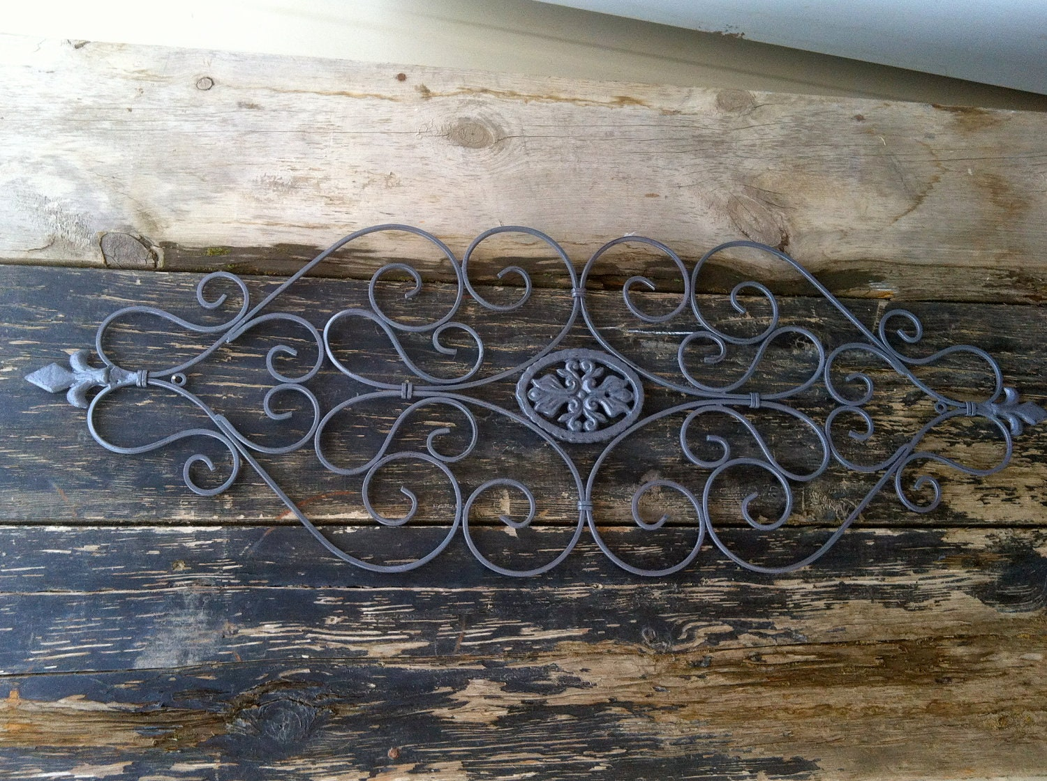 gray distressed scroll iron wall decor wall by farmgirlsvintage. Black Bedroom Furniture Sets. Home Design Ideas