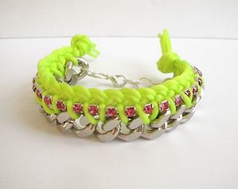 Neon yellow fluorescent Braided Chain Bracelet, pink rhinestones,satin cord