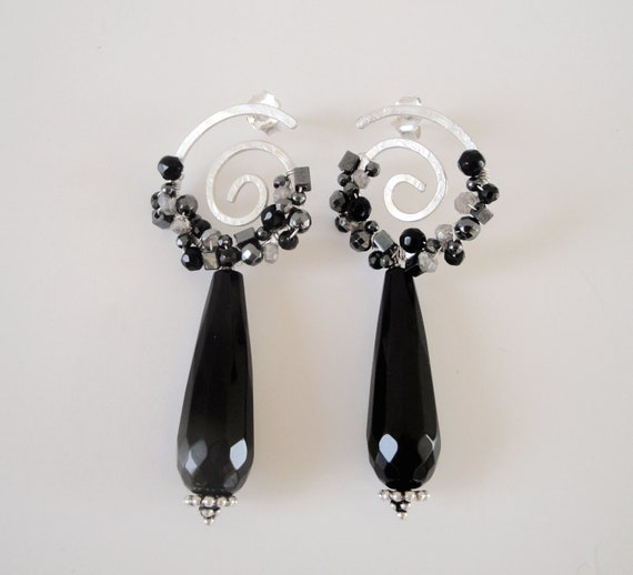 sterling silver wire wrapped spiral hammered earrings- spinel,labradorite,onyx,hematite beads