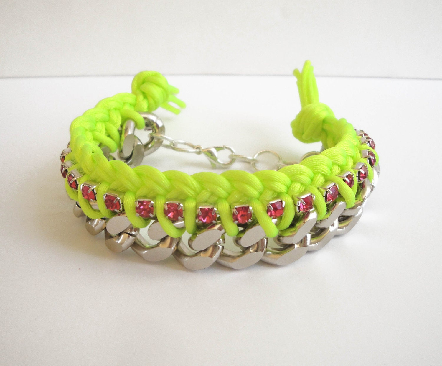 neon yellow fluorescent braided chain bracelet pink. Black Bedroom Furniture Sets. Home Design Ideas
