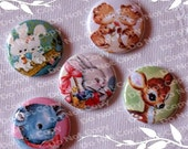 Cute Vintage Style Animal Friends 1 inch Plastic Back Medallion Cabochon Cameo Charms 25mm Lot - B