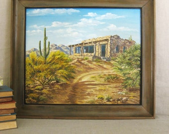 Vintage Southwestern Landscape Painting, Mary Running Dear, Adobe Architecture, Fine Art, Art, Desert Landscape, Painting,Vintage Art,Rustic
