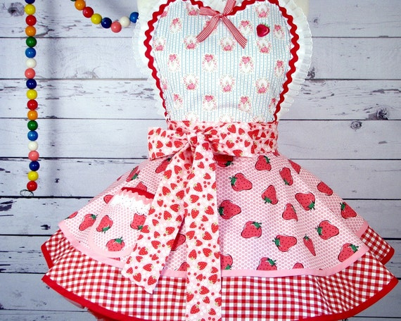 Strawberries and Red Gingham Apron by Dots Diner Limited Edition with Vintage Fabric