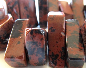 Jasper Beads 20 x 10mm Mahogany Jasper Speckled Smooth Chocolate Brown & Jet Black Freeform Slabs - 8 Pieces