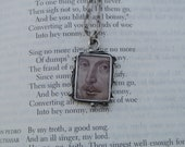 Shakespeare Close-up, Shakespeare Image Pendant with Antique Silver Chain, Shakespeare Necklace