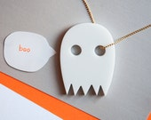 Spooky Halloween Ghost Necklace - Modern White Laser Cut Pendant - Boo Gold Chain - Fall Fashion