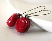 deep red earrings - Vintage glossy burgundy lucite beads - sealing wax