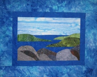Quilted Wall Hanging Picture of Ocean Beach with Rocks in Blue, Green, Gray and Brown