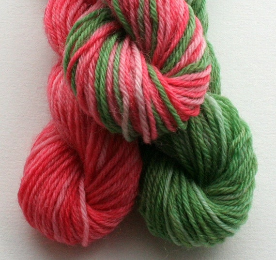 Sock Yarn Mini Skeins, Hand Dyed Knitting Wool, watermelon pink and light green
