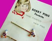 1950s Daffy Duck  Handpainted Bobby Pins by Paulette - Little Girl Illustration - VintagePickle