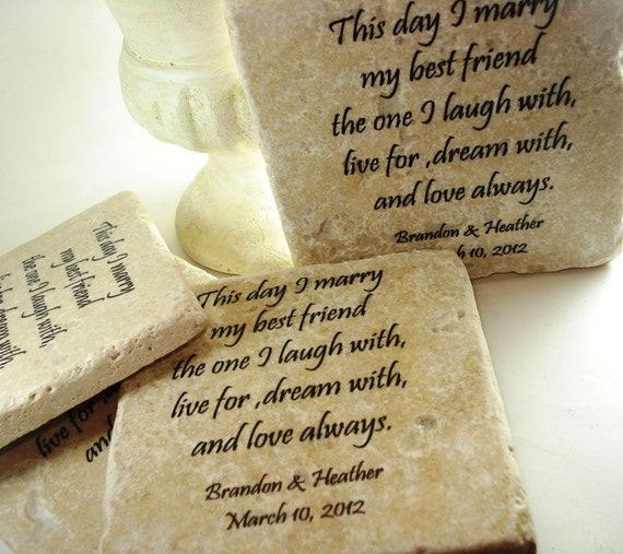 Wedding Personalized -  Set of Travertine Drink Coasters (4) Unique Stand included for Display.