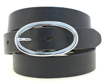 "Made In America Ladies' Hip Or Waist 1 1/4"" Black Bridle Leather Belt Large Oval Nickel Buckle Dress Or Casual"