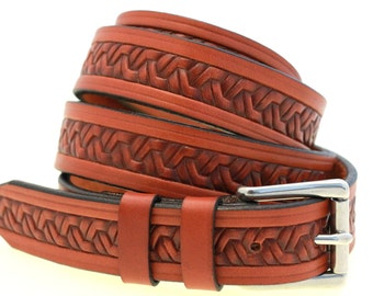 "Men's 1 1/8"" Chestnut English Bridle Leather Belt With Embossing And Double Loops Stainless Steel Roller Buckle Made In America"