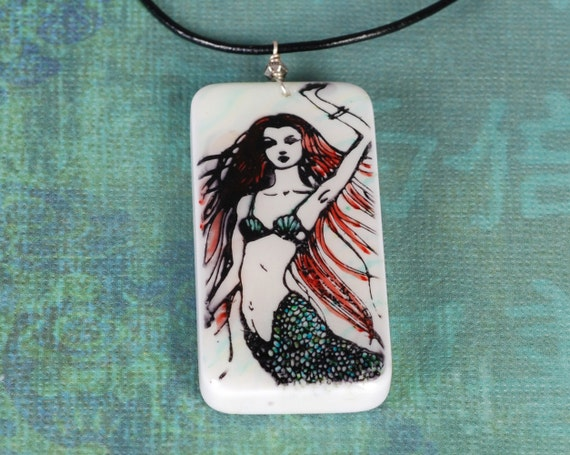 Mermaid Necklace - Mermaid Pendant - Domino Necklace - Red and Green