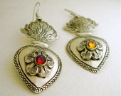 Iconic Mexican Silver Sacred Flaming Heart Earrings with Multicolored Swarovski Crystals - Corazon Sagrado