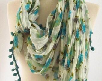 Fabric Rectangle  Pom pom Guipure  Scarf ..authentic, romantic, elegant, fashion