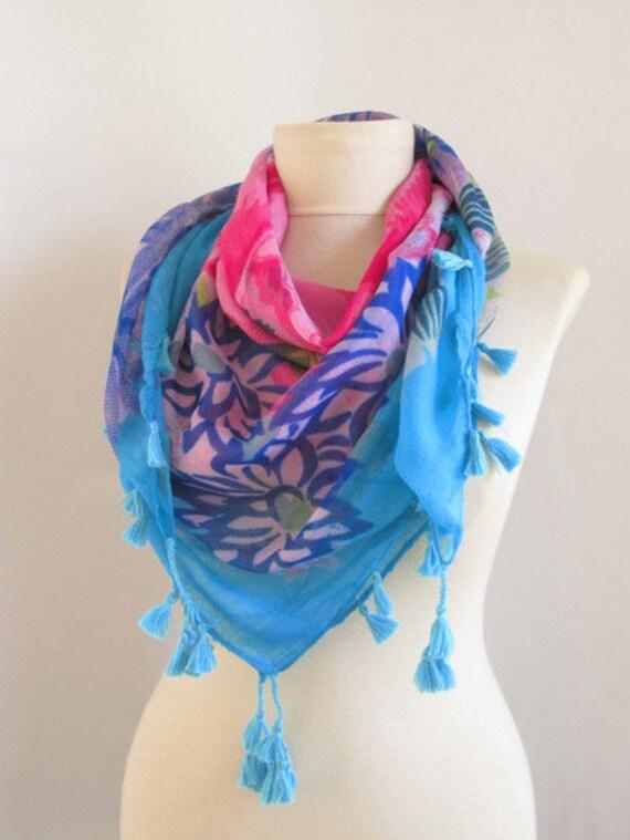 FREE Shipping..SQUARE Tasseled Turkish Cotton  Scarf ..%100 Cotton..bridal,scarf,authentic, romantic, elegant, fashion,
