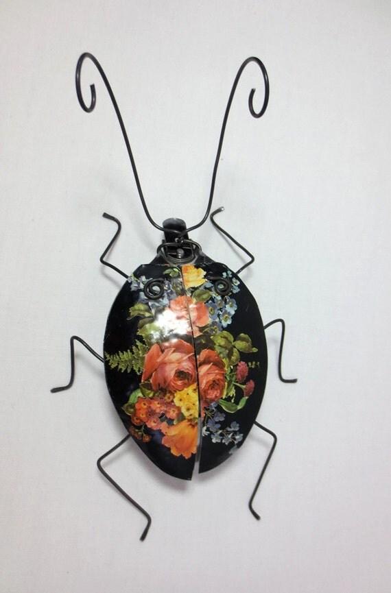 Black Spoon Beetle With Roses Repurposed Art